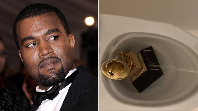 Kanye West se filme en train d'uriner sur son Grammy