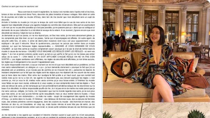 Une visiteuse refoulée à cause de son décolleté, le musée d'Orsay s'excuse