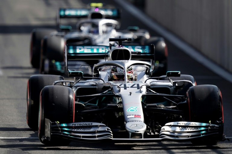 Mercedes drivers Lewis Hamilton and Valtteri Bottas locked up the second row in the Belgian Grand Prix