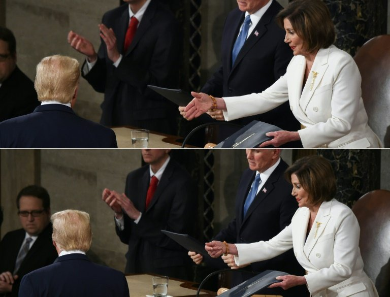 Speaker of the US House of Representatives Nancy Pelosi tried to shake hands with President Donald Trump but he turned away