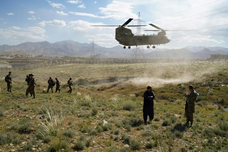 A US military Chinook helicopter seen in June 2019 in Afghanistan where reports say Russia has offered bounties to target US-led forces